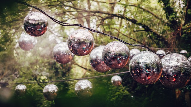Glitter balls hung up in a forest.