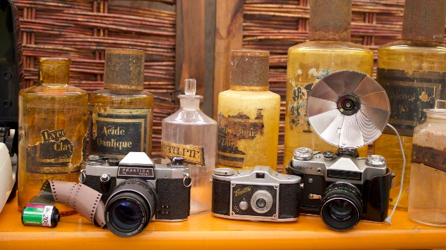 Old cameras and bottles available to buy at the Flea Market at the Vinegar Yard.