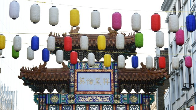 The iconic Chinatown gate with colourful lanterns at the top.