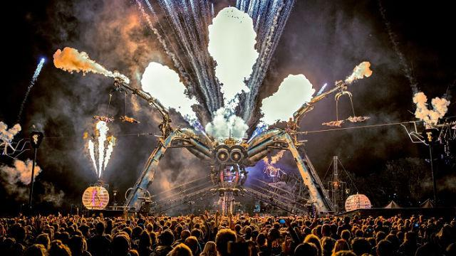 Pyrotechnics and robotics  on the stage as part of Arcadia's Metamorphosis show. Image courtesy of Arcadia