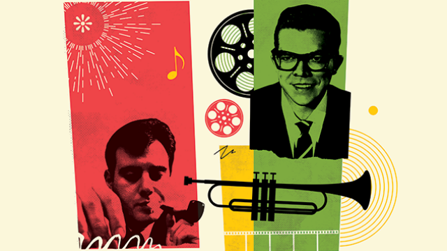 Colourful poster with two photographic portraits of musicians