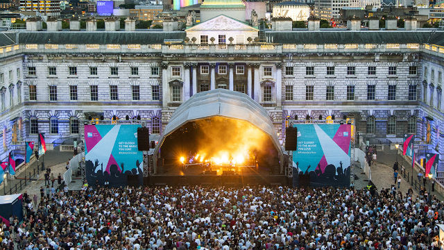 A huge crowd watching stage performances in the courtyard of Somerset House