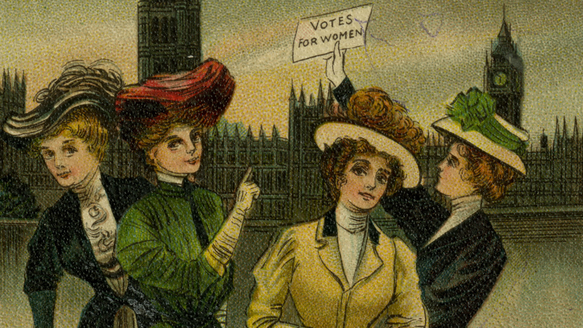 Postcard of women with votes for women placards outside the Houses of Parliament