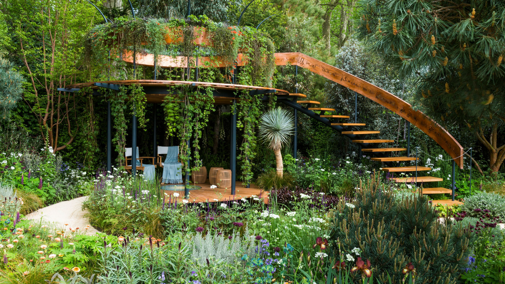 Flowers fill the The Winton Beauty of Mathematics Garden at RHS Chelsea Flower Show.