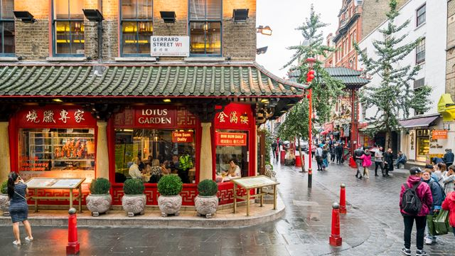 Chinese restaurant exterior on Gerrard Street in Chinatown, Soho.