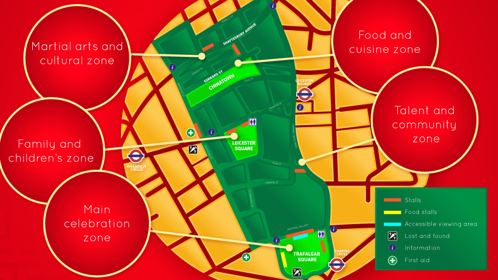 Map showing key locations for Chinese New Year 2018