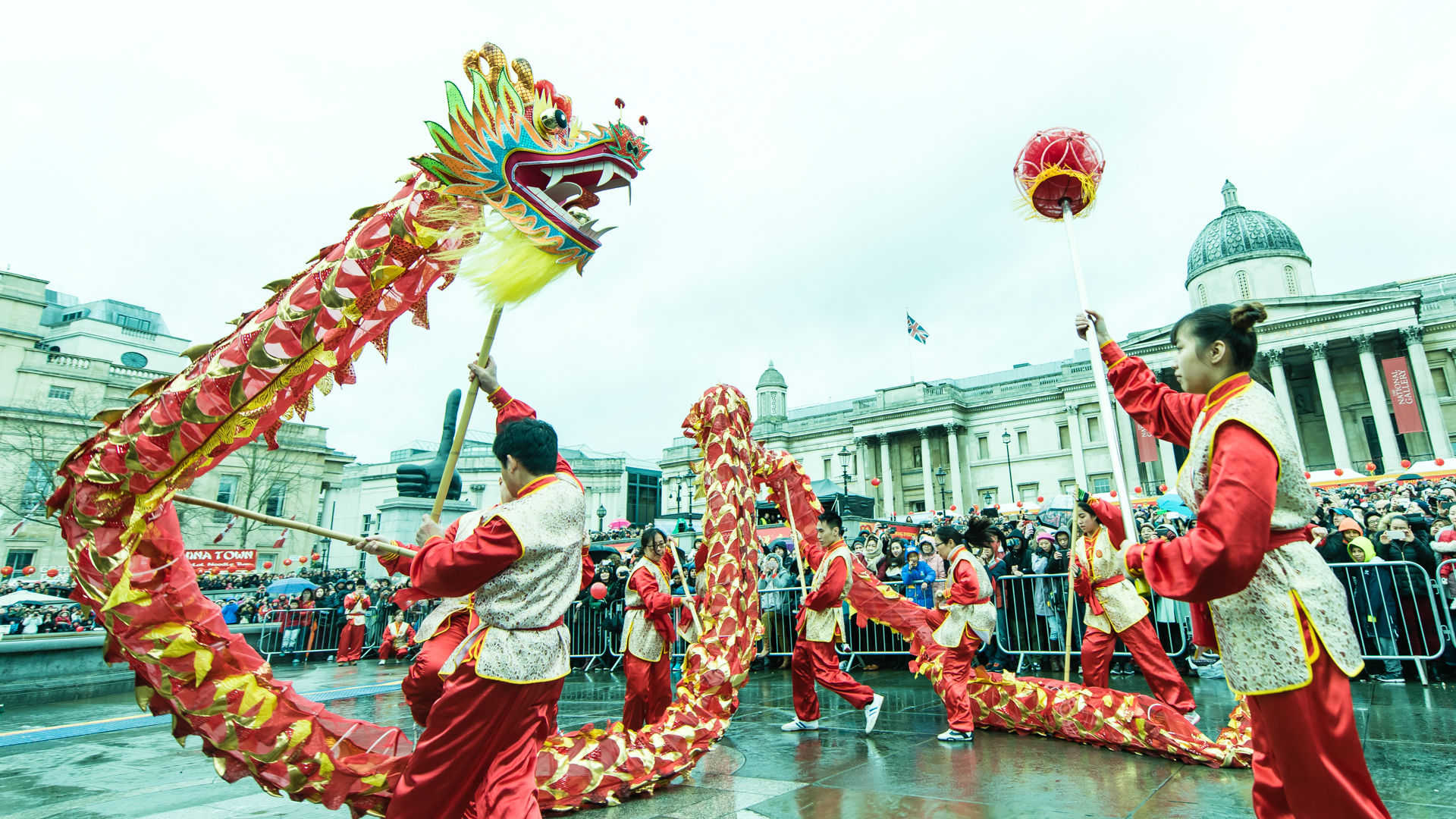 Dragon dance during Chinese New Year in Trafalgar Square. Photo: Jon Mo