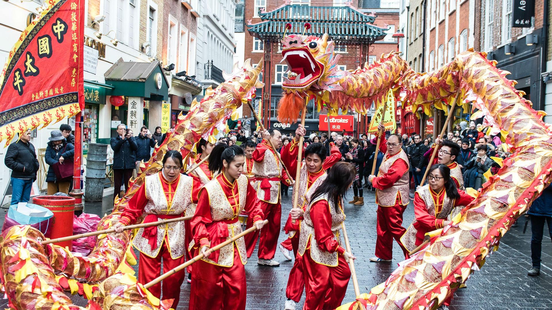 Dragon dance during Chinese New Year. Photo: Jon Mo