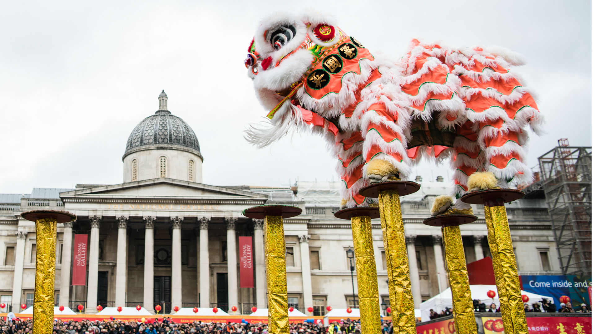 Lion dance in Trafalgar Square at Chinese New Year 2017. Photo by: Jon Mo