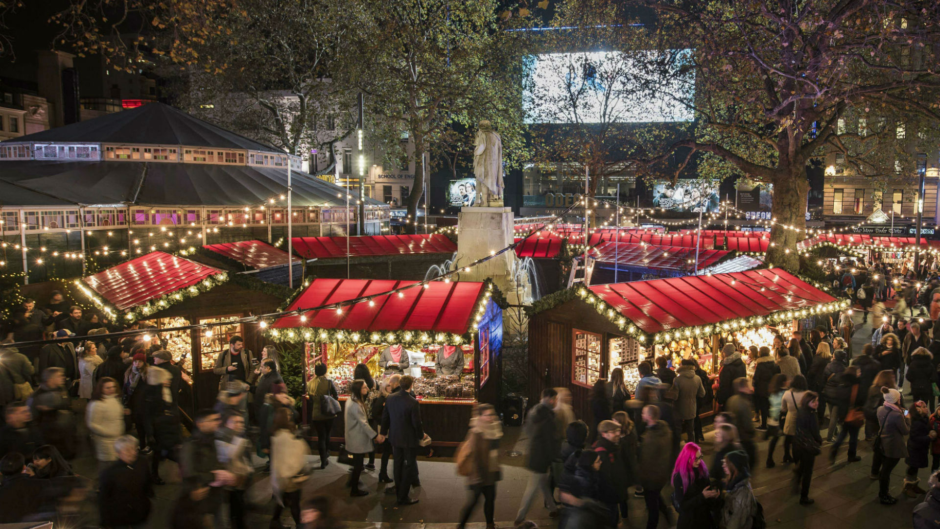 Market stalls at Christmas in Leicester Square