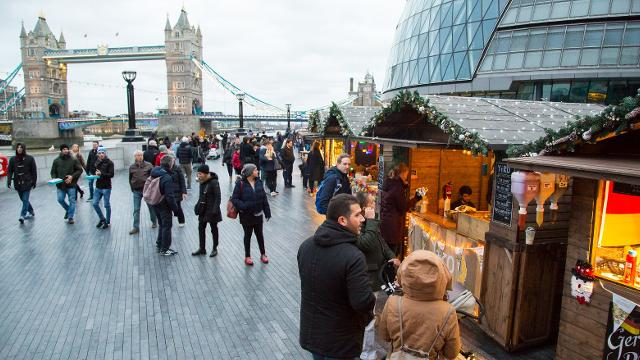 London Bridge City christmas market by tower bridge