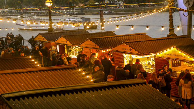 Winter market stalls at the Southbank Centre