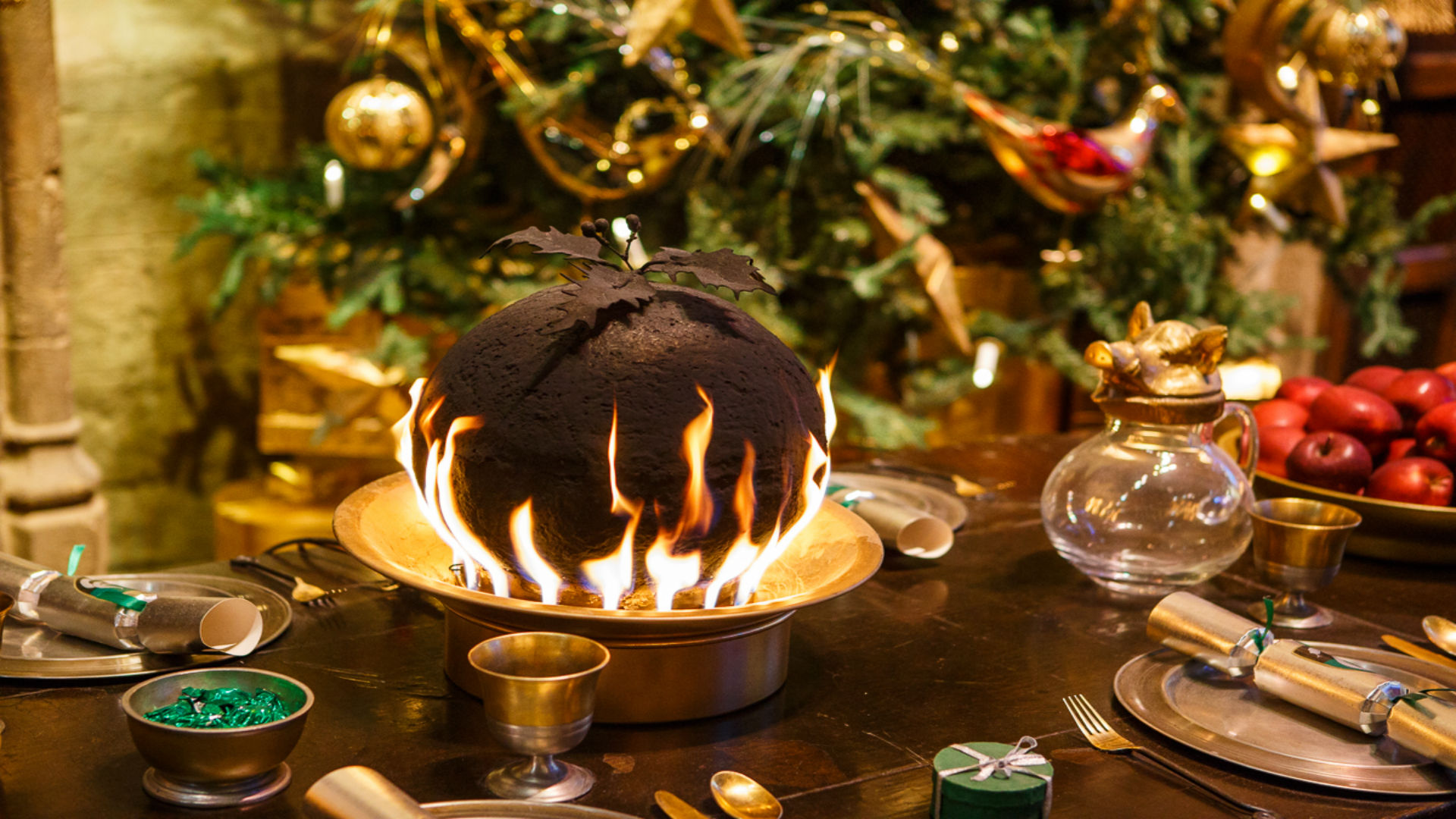 Flaming puddings at Hogwarts in the Snow at Warner Bros. Studios The Making of Harry Potter