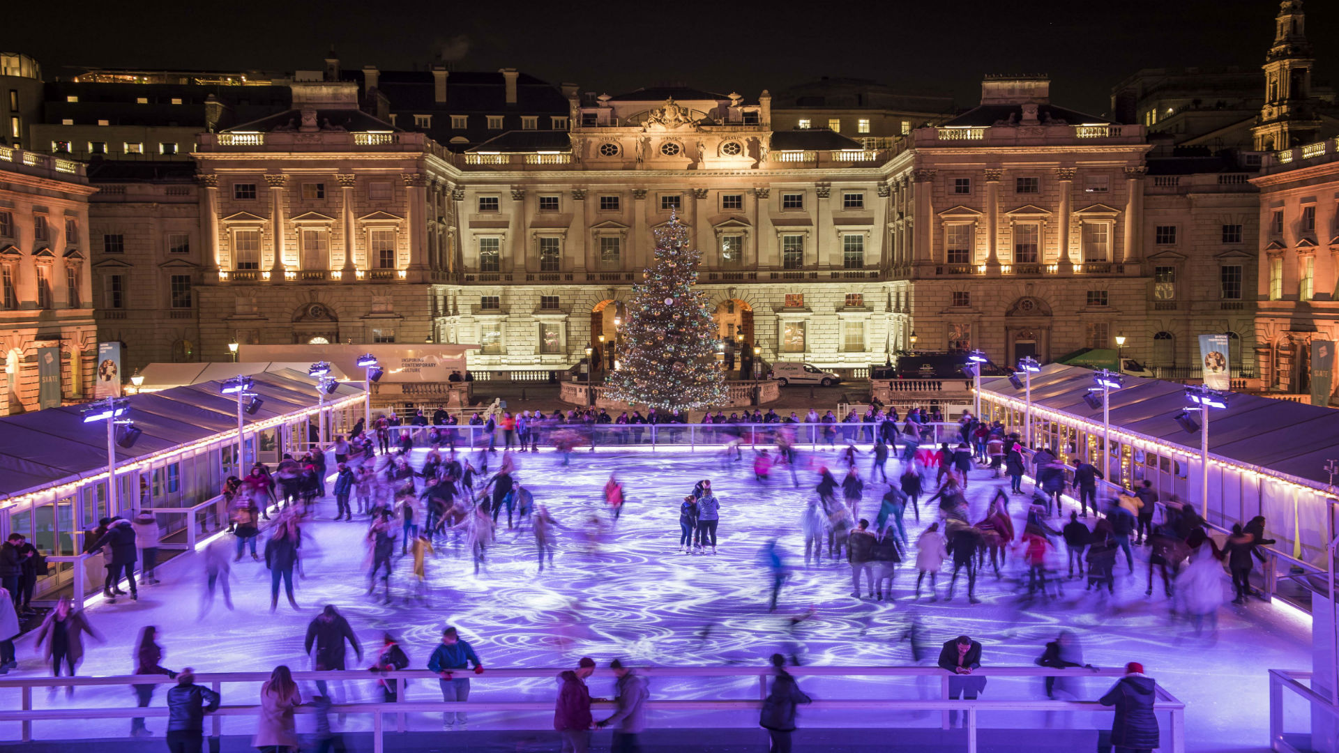 Ice rink and Christmas tree at Somerset House