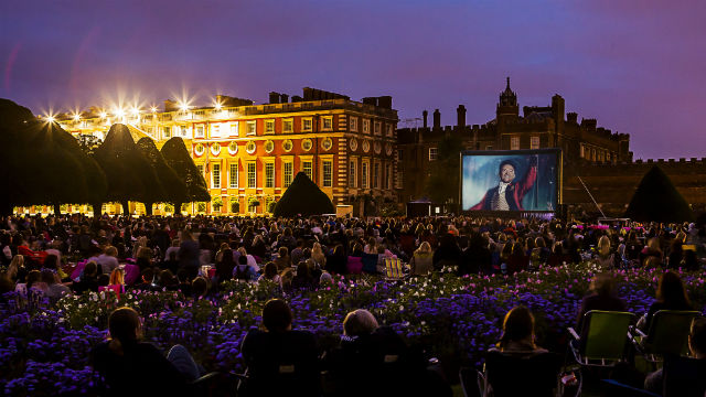 Open-air cinema in the garden of Hampton Court Palace