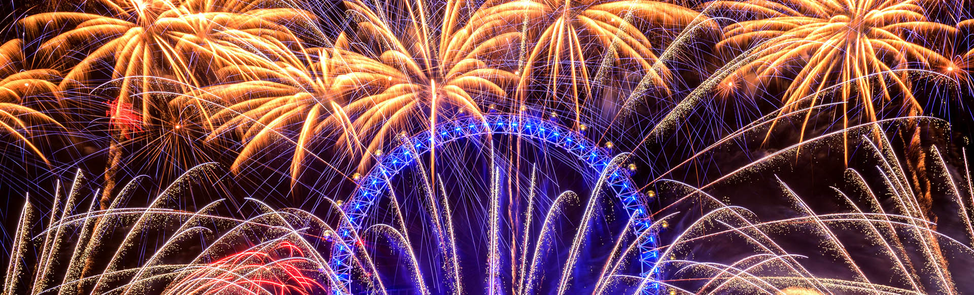 Golden fireworks light up the sky over the London Eye.