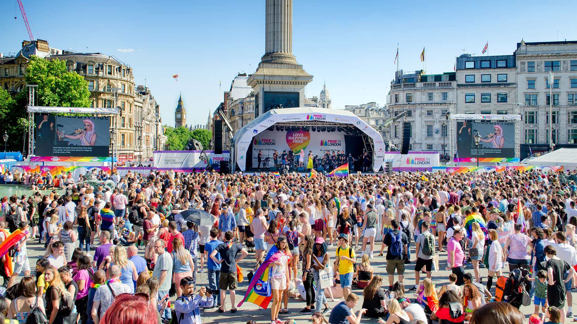 Crowds gather in front of the Trafalgar Square stage during Pride in London 2017.