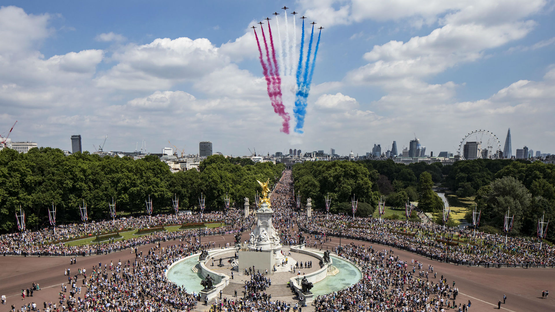 Royal Air Force flypast takes place over Buckingham Palace