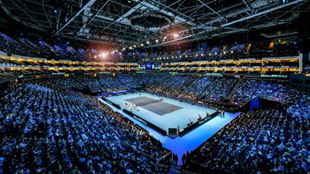 Wide-shot of the court The O2 for the Nitto ATP finals.