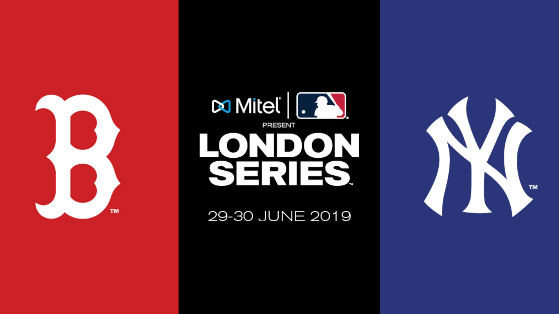 Logo's of the Boston Red Sox and New York Yankees Baseball teams with the London Series Logo
