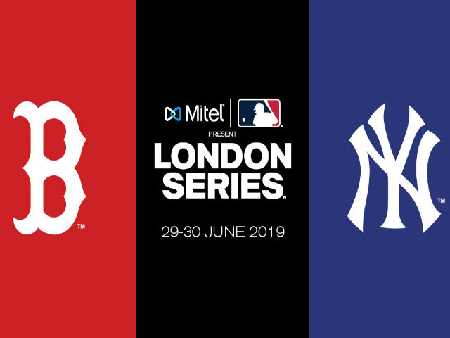 Image of the London Series title over the Boston Red Socks and the New York Yankees logos, with a background of the City of London and London Bridge. Image courtesy of MLB London Series 19.