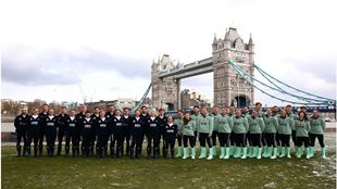 The Boatrace teams lining up in front of Tower Bridge