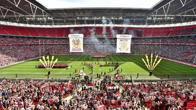 Wembley stadium is filled with crowds for the Challenge Cup final.