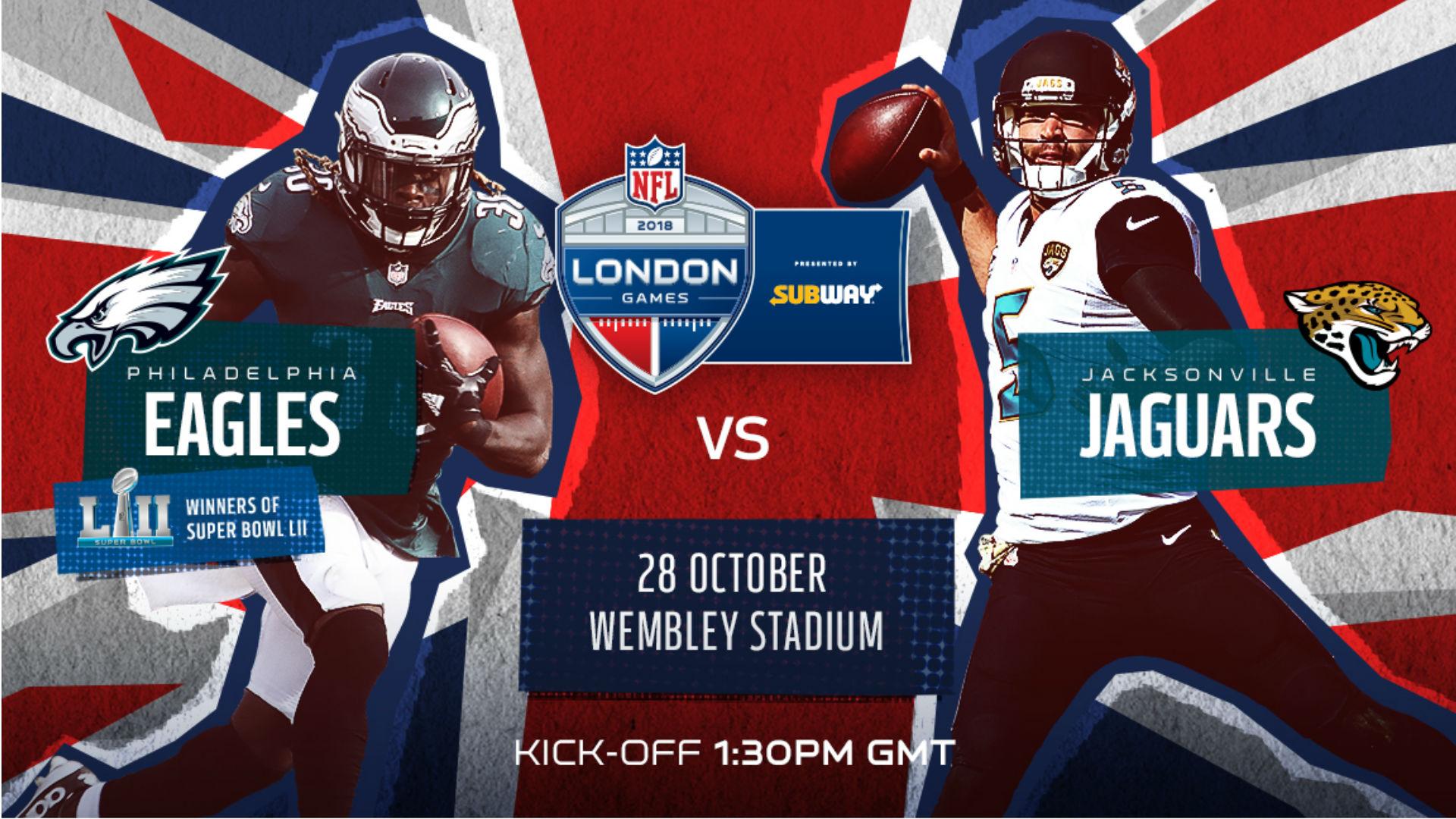 Philadelphia Eagles Take On The Jacksonville Jaguars At Wembley Stadium.  Image Courtesy Of NFL UK