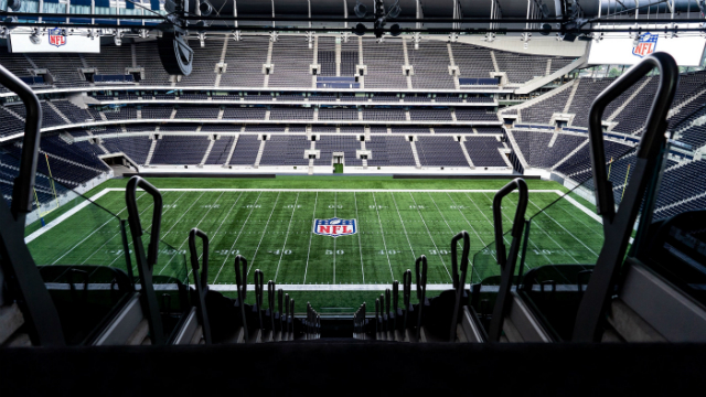 View from the seats at the top of Tottenham Hotspur Stadium to show the new NFL pitch ready for the next game