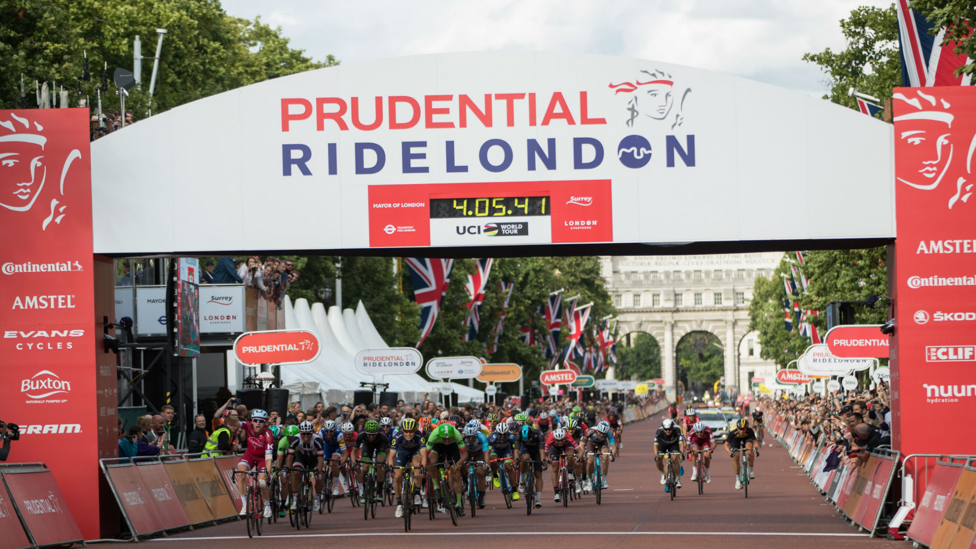 Riders in the Prudential RideLondon Classic cross the finish line. Image courtesy of RideLondon