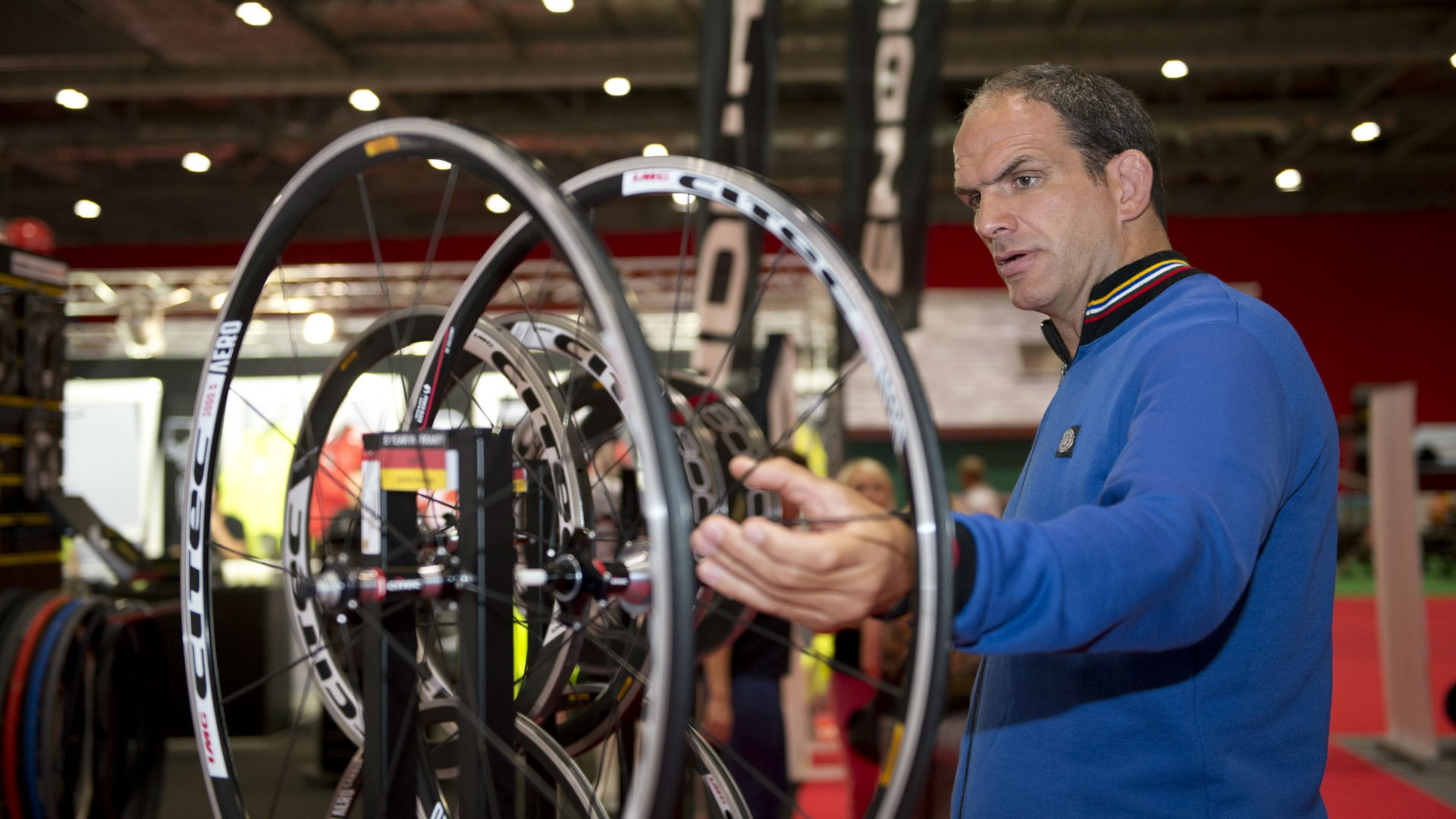 Rugby player Martin Johnson checks out the latest gear at the Prudential RideLondon Cycling Show at ExCel London. Image courtesy of Prudential RideLondon
