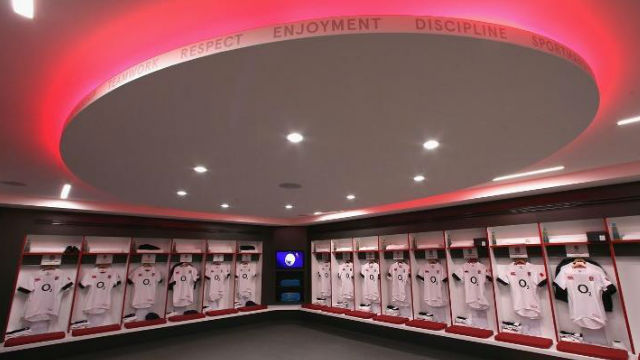 The England dressing room, part of the World Rugby Museum and Twickenham Stadium tour