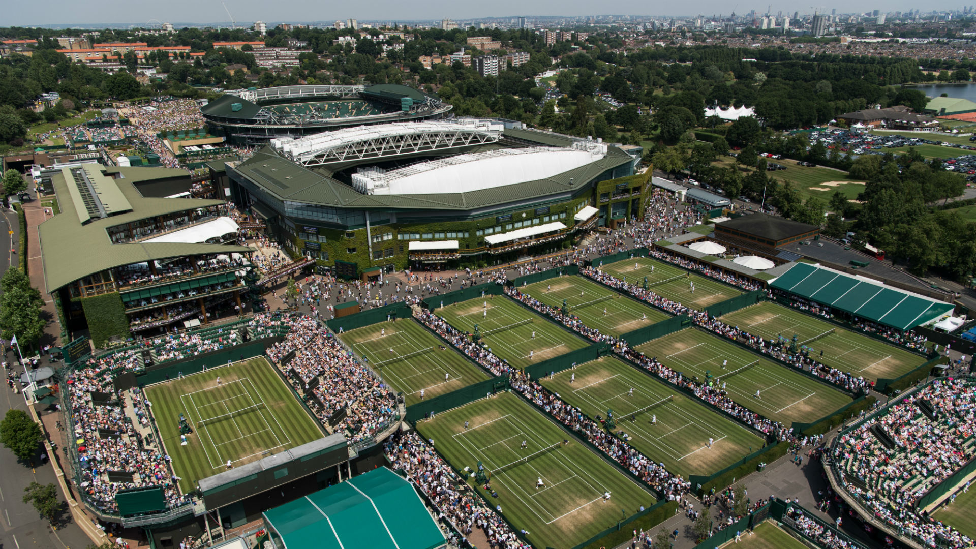 An aerial view of the Grounds with the London skyline in the background on the fourth day of play at The Championships 2017 at The All England Lawn Tennis Club,