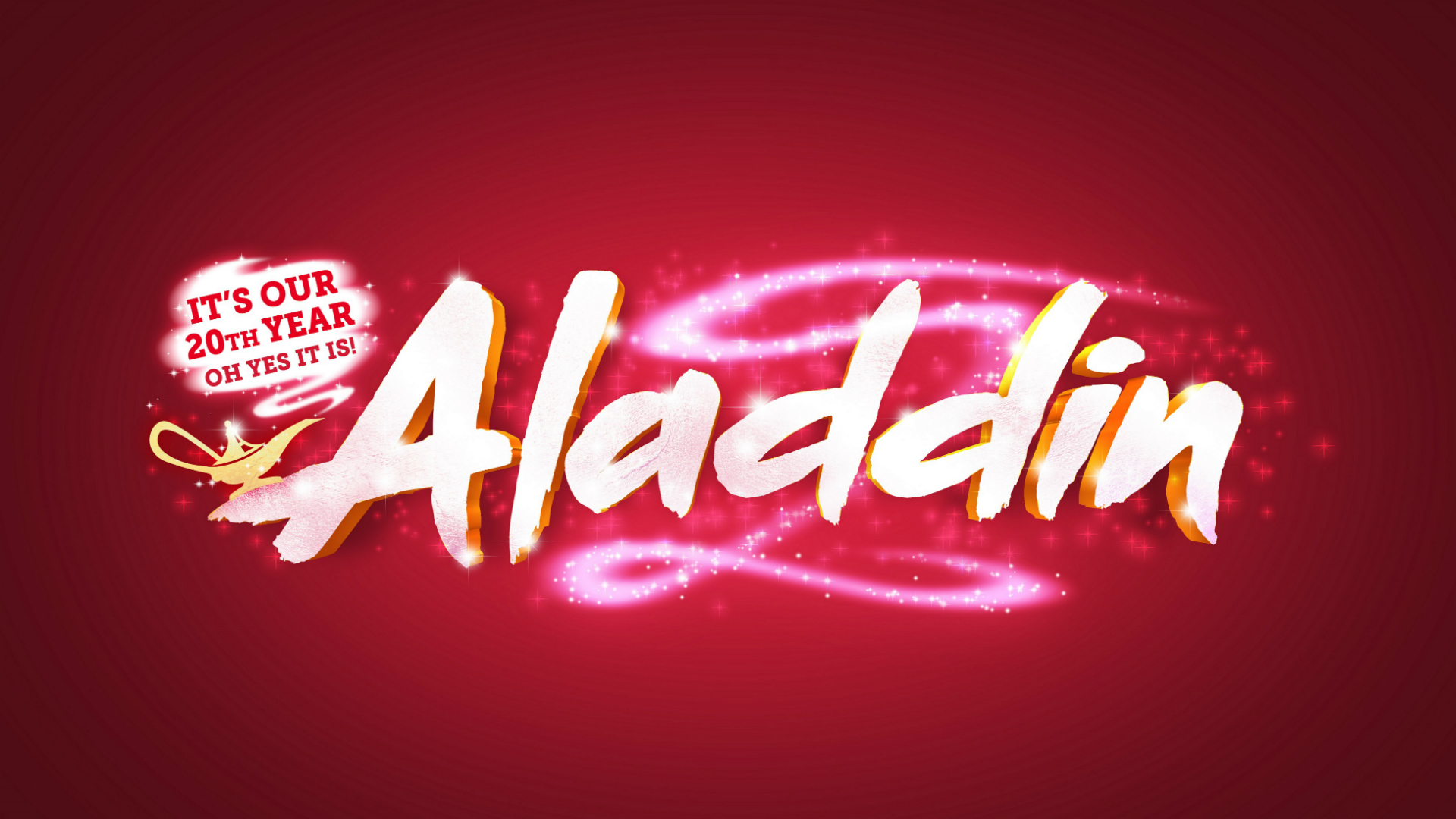 Aladdin, written in yellow on a red background