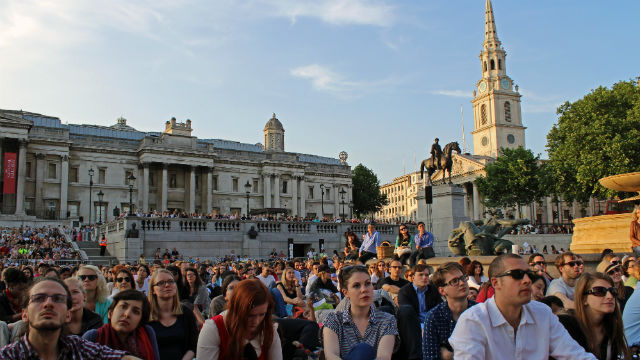 Crowds watch performances broadcast live from the Royal Opera House