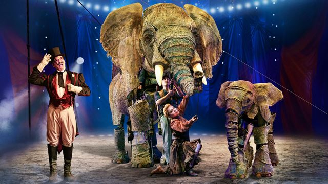 Two elephants with the cast of Circus 1903 at the Southbank Centre's Royal Festival Hall.