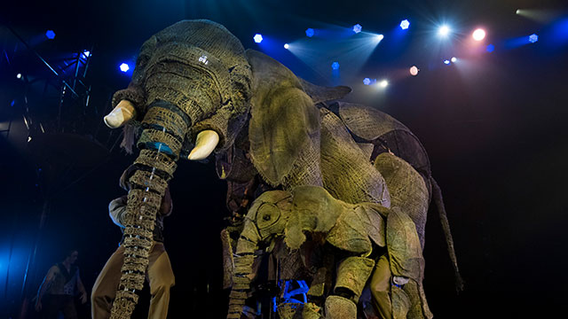 Life-sized elephant puppet creations on stage at Circus 1903