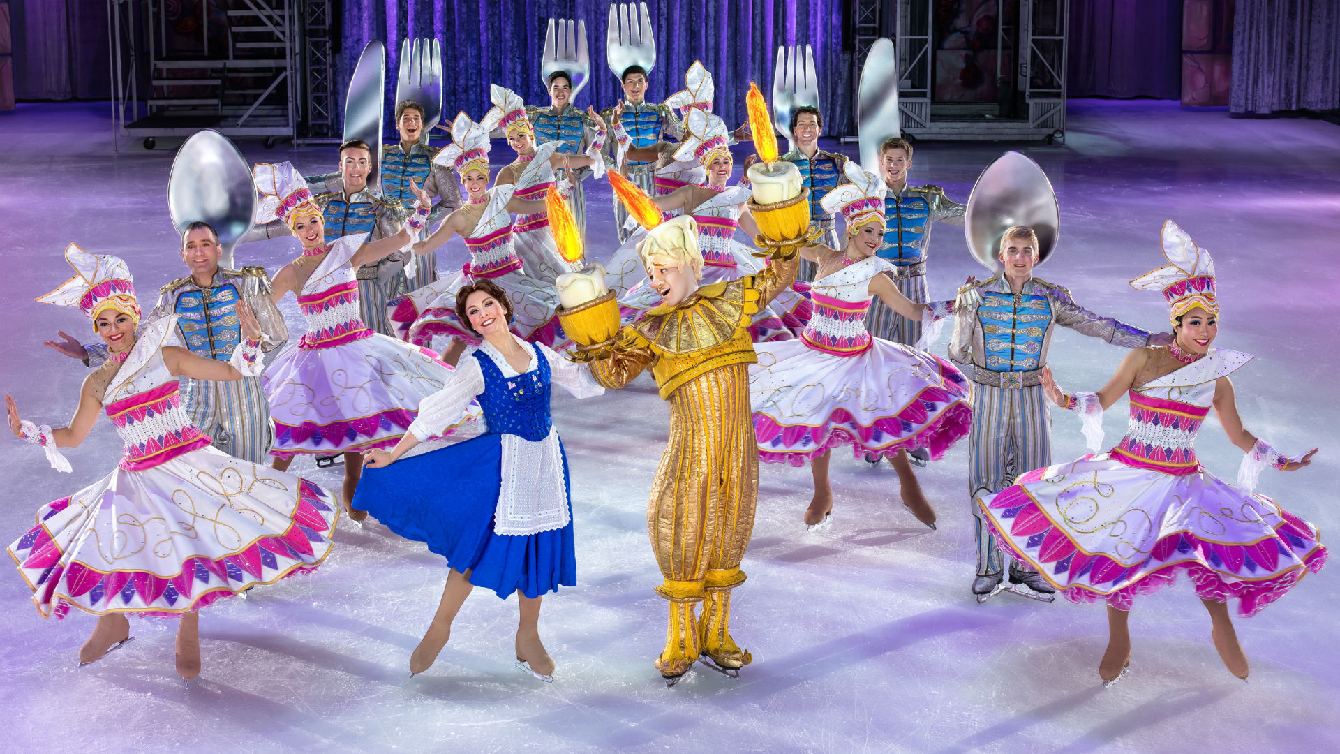 Disney characters on the ice at Disney On Ice presents Dream Big at the O2 Arena