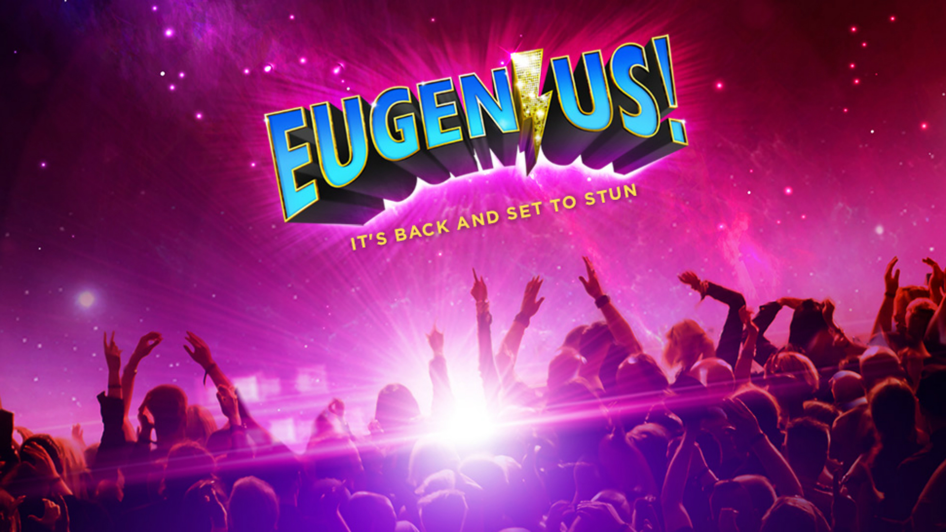 Eugenius! logo above a crowd of fans