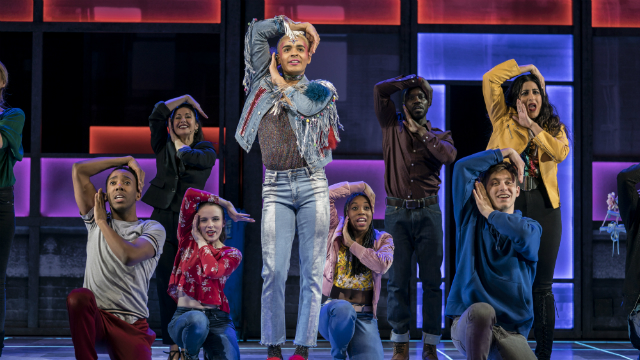 Layton Williams and other cast members dancing on stage in Everybody's Talking About Jamie.