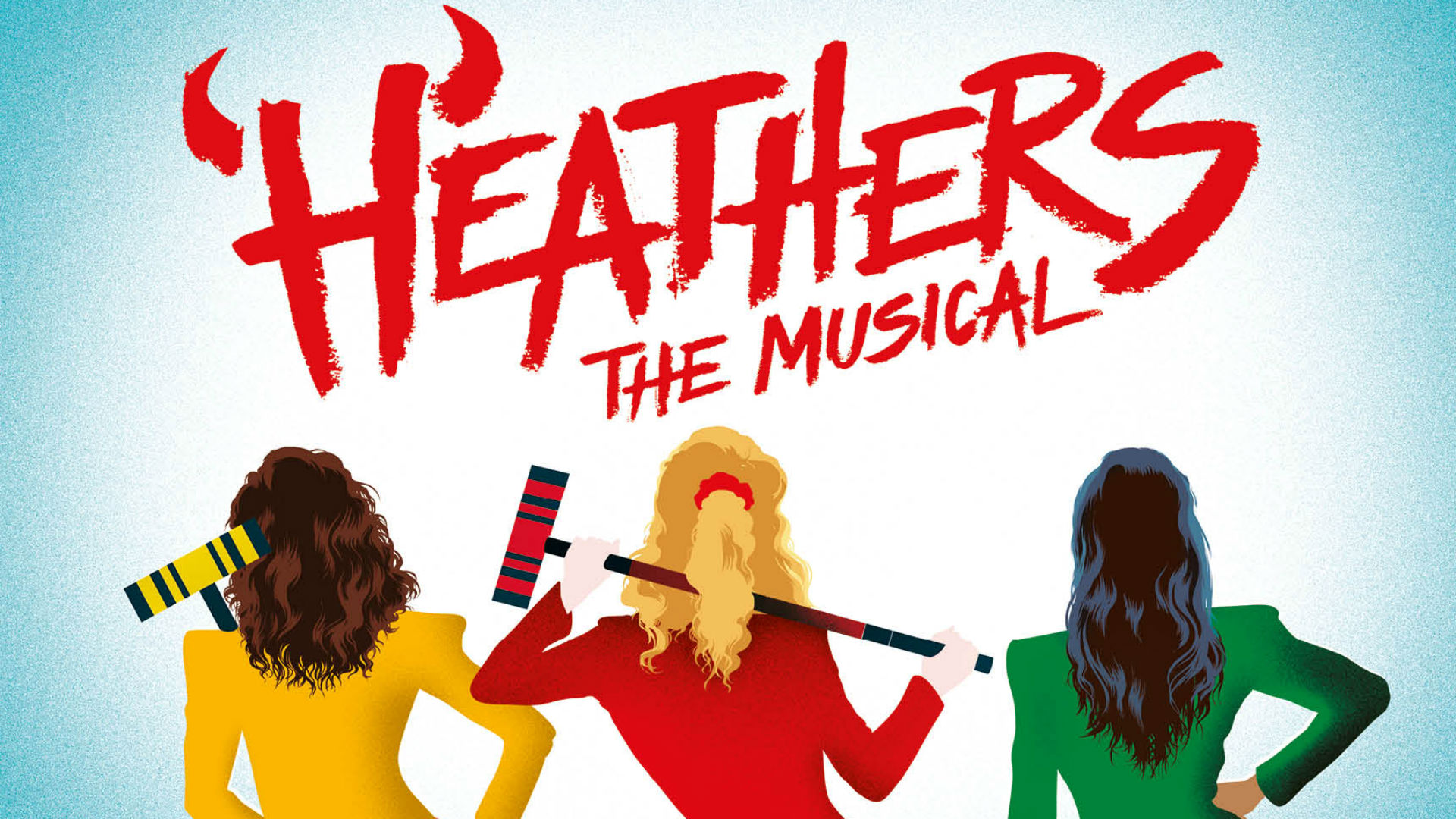 Heathers The Musical, written in red, above the back view of three women wearing blazers and holding croquet mallets.