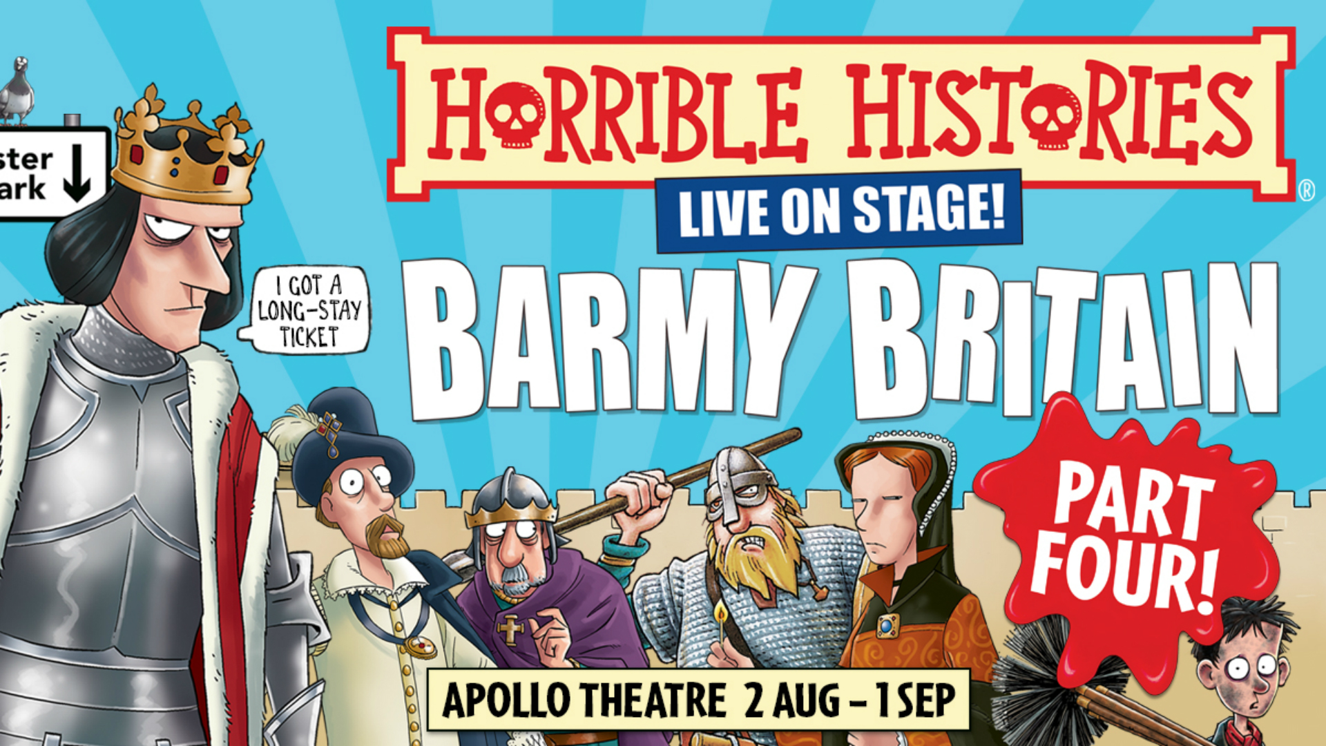 Horrible Histories Live On Stage - Barmy Britain Part Four! at Apollo Theatre. Image courtesy of Kate Morley PR.