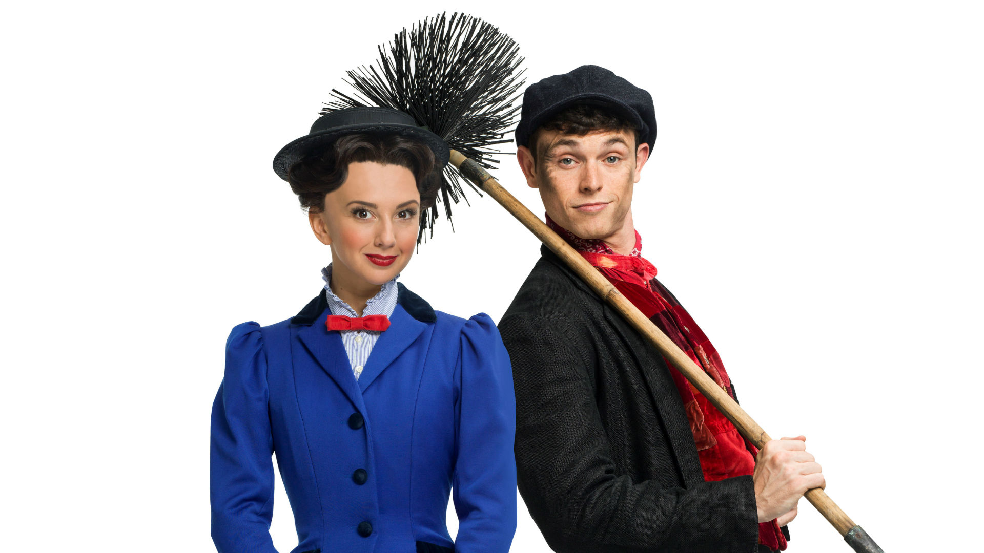 Mary Poppins and Bert the Chimney Sweep stand side-by-side. Bert carries his brush for sweeping chimneys over his shoulder. Mary wears her nanny's uniform of black hat and bright blue jacket.