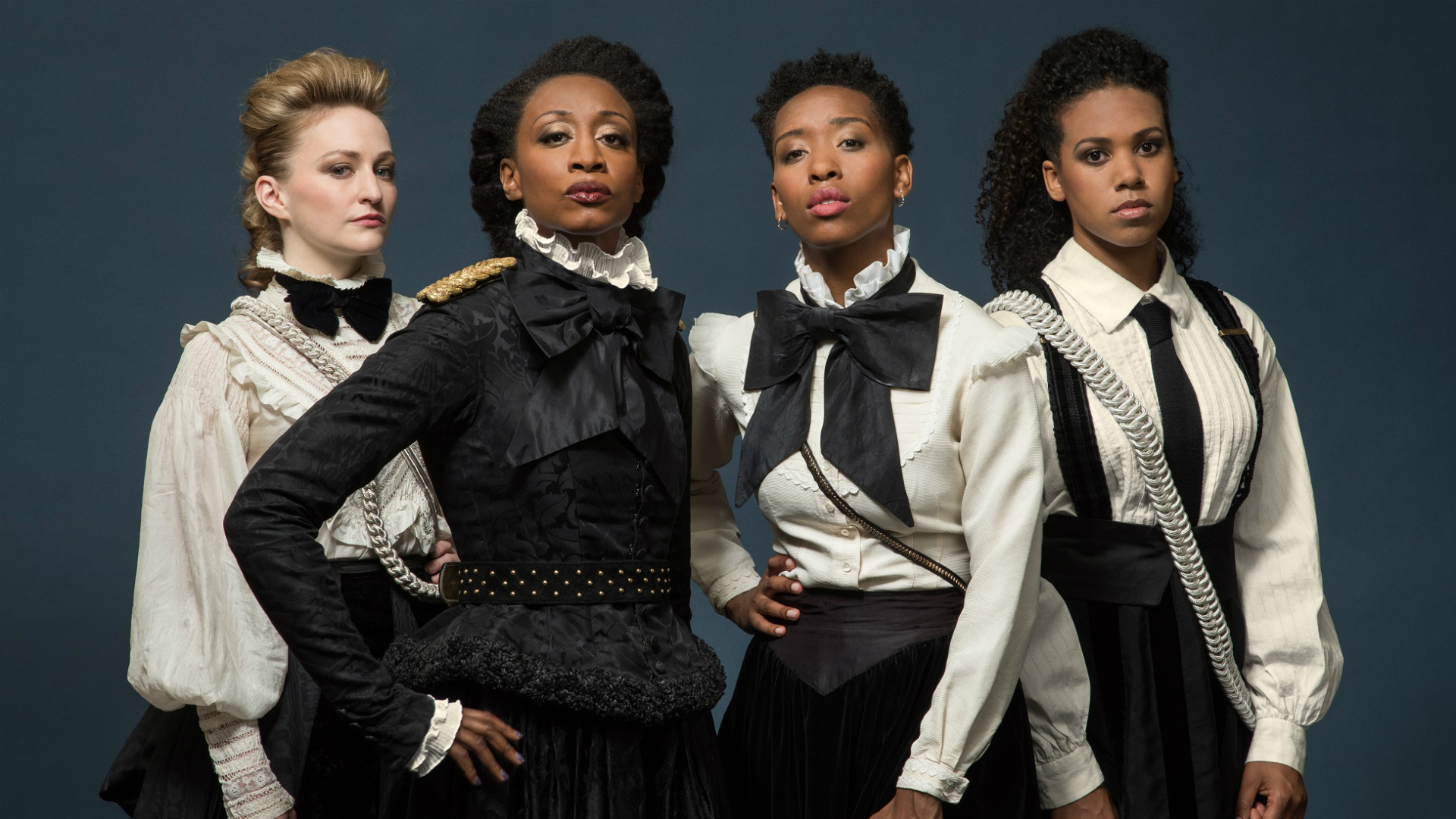 Carley Bawden, Beverley Knight, Genesis Lynea and Witney White, the stars of Sylvia, stand next to each other with stern expressions.