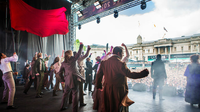 Cast of Les Miserables performing during West End LIVE