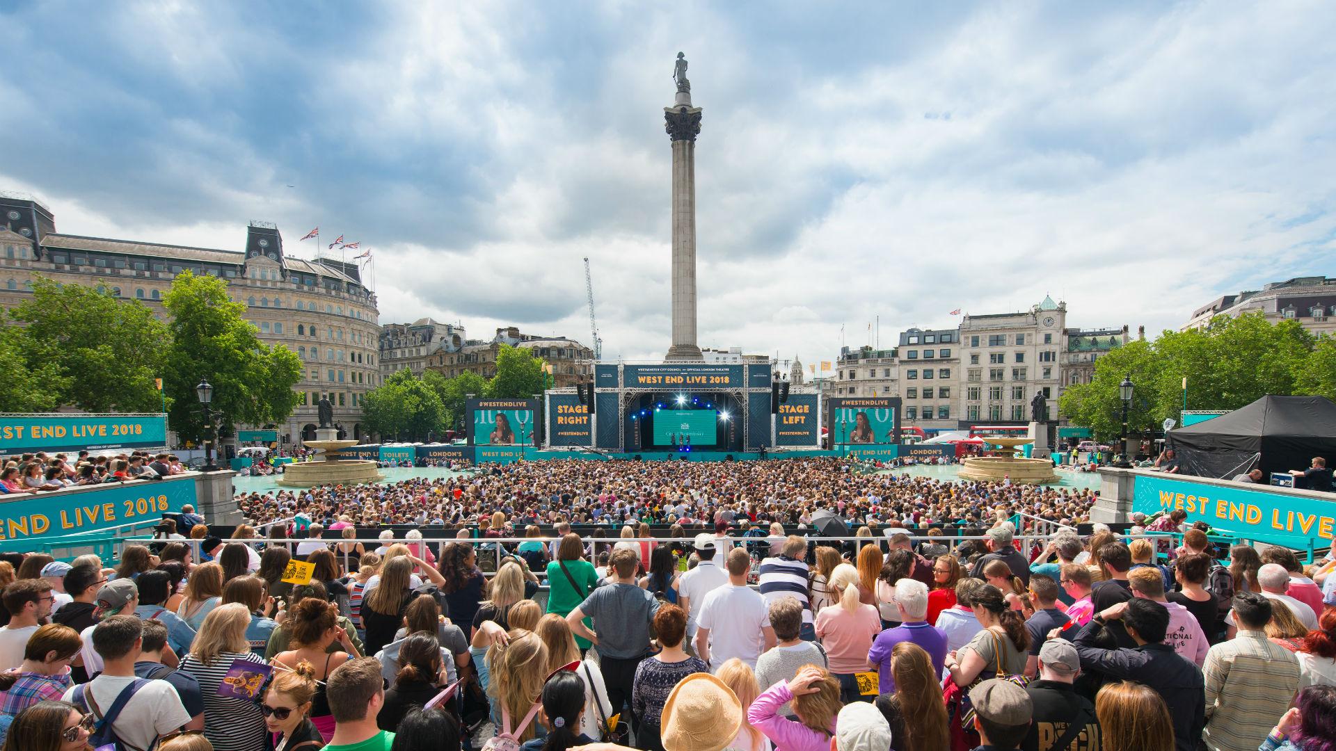 A large crowd enjoys free performances during West End LIVE