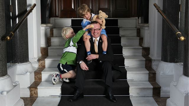 Children play with the head of the Kids Concierge at St James's Hotel & Club. Image courtesy of St James's Hotel & Club.