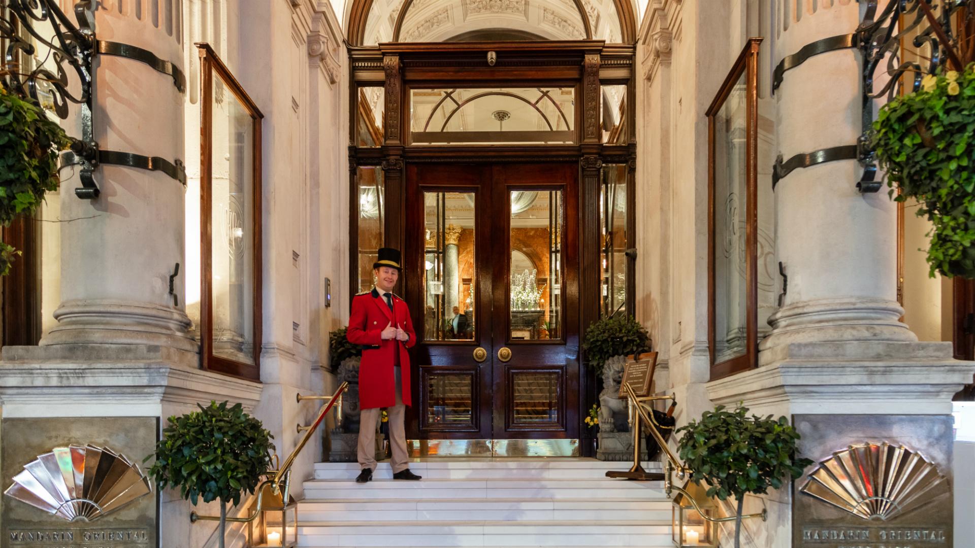 Mandarin Oriental Hotel Knightsbridge entrance and footman
