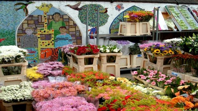 Colourful flower stands on the street with mosaics in the background.