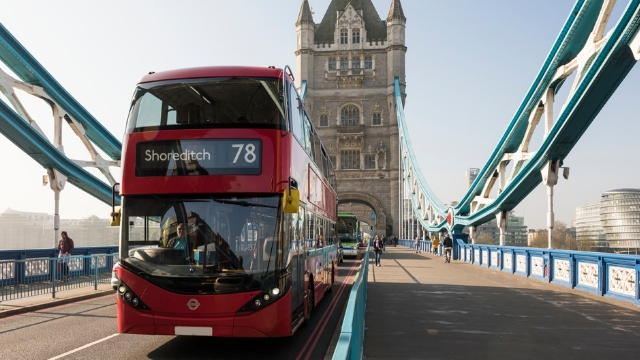Red bus at Tower Bridge